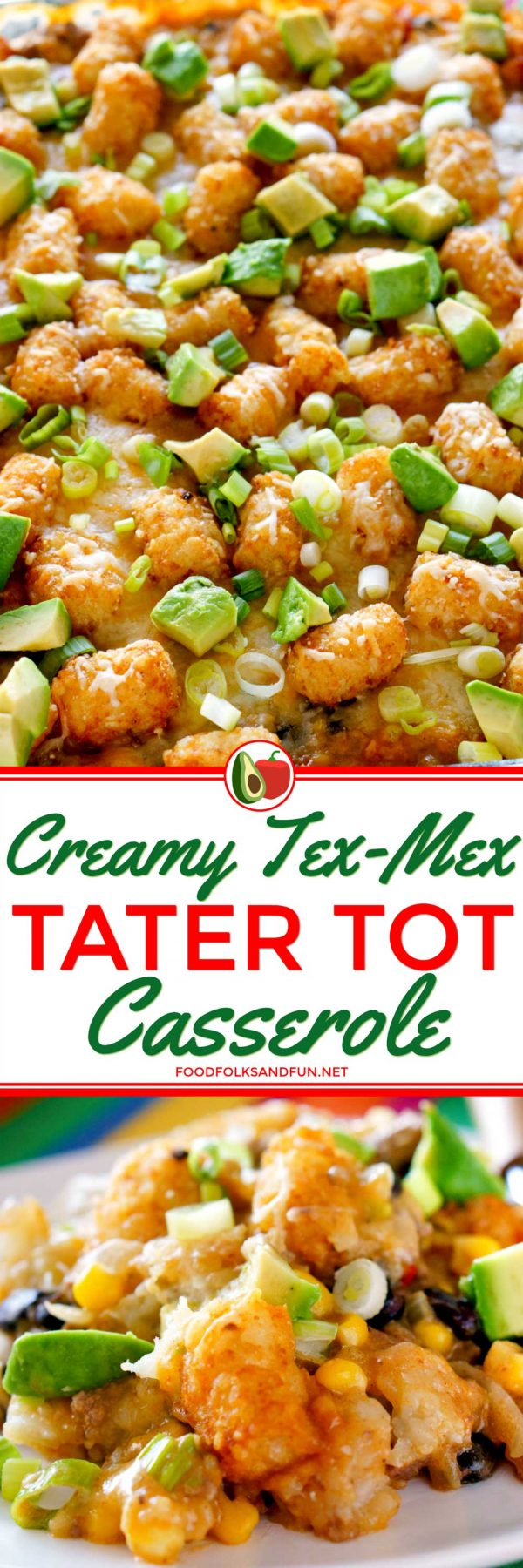 Cheesy Tater Tot Casserole made with Tex-Mex flavors.