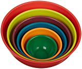 A stack of colorful mixing bowls