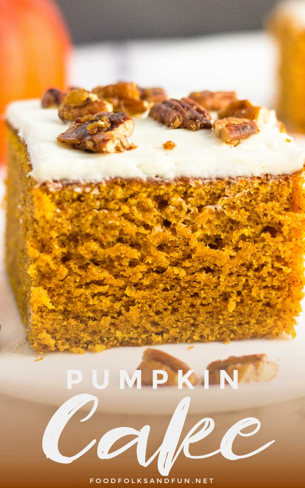 A piece of pumpkin cake with text overlay for Pinterest