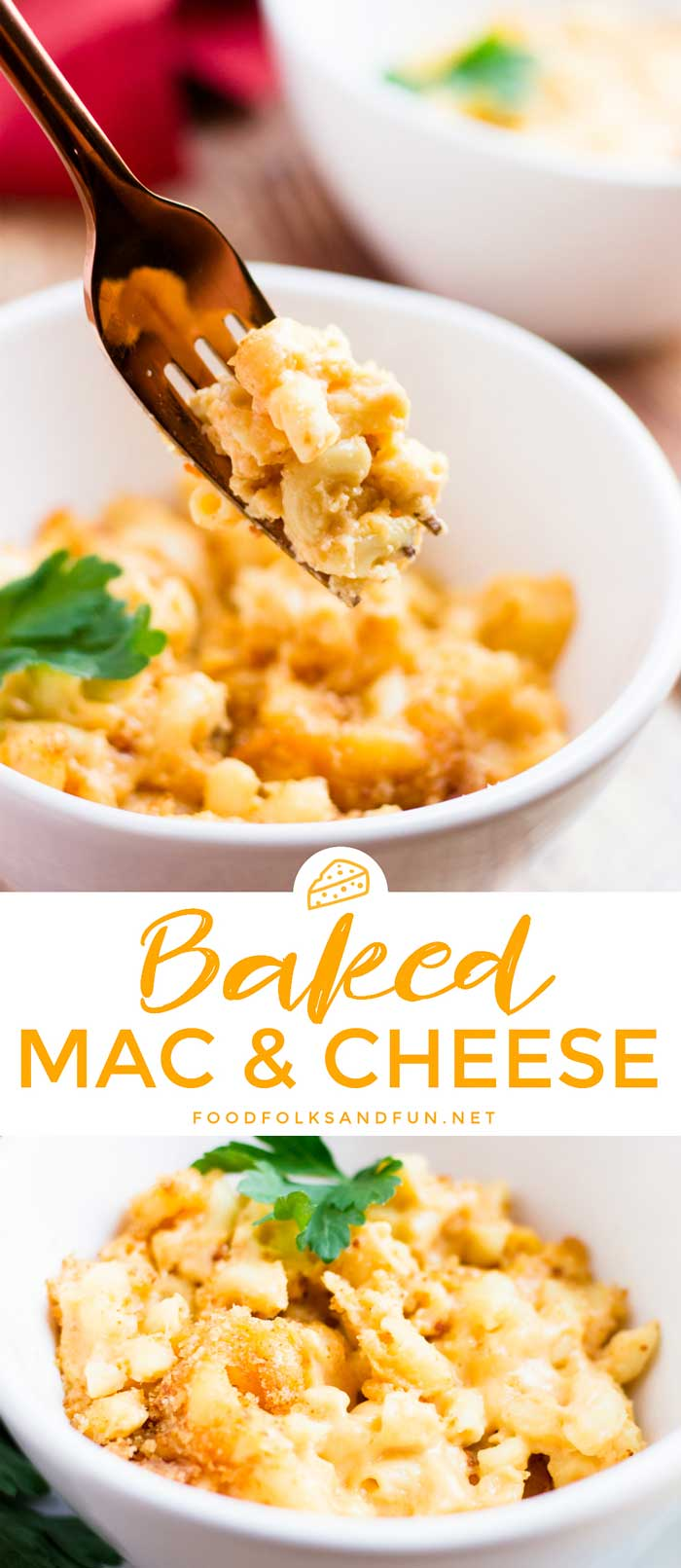 This homemade Baked Mac and Cheese recipe is easy to make and simply the best! The sauce is creamy, velvety and packed with cheesy goodness. via @foodfolksandfun