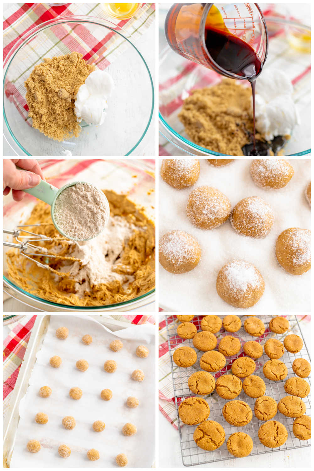 A picture collage of the differnt steps to make this gingersnap cookie recipe