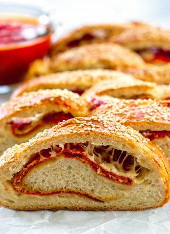 A close-up of sliced stromboli pieces