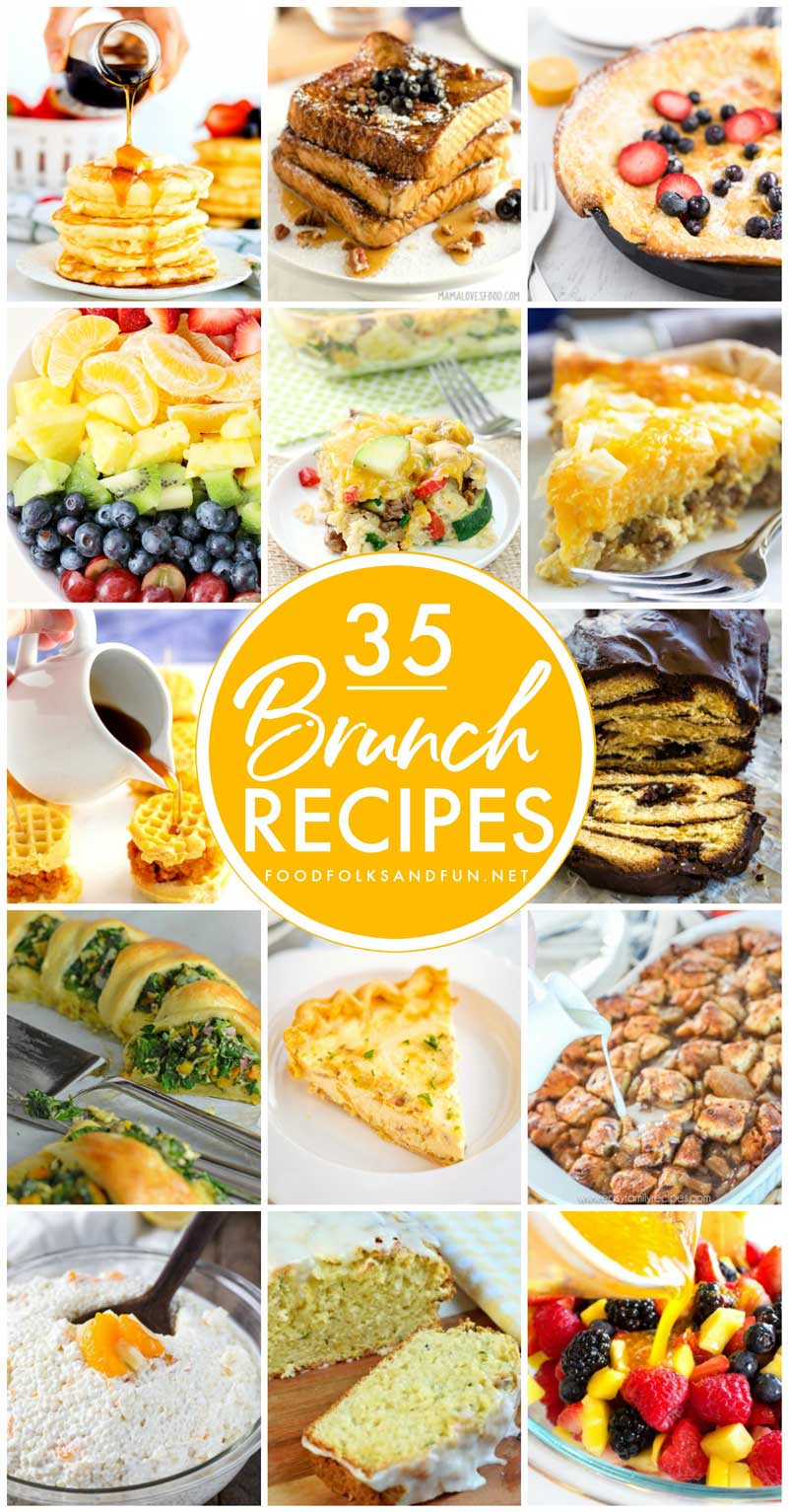 These 35 Brunch Recipes have you covered for year-round brunching! You'll find maindishes, casseroles, egg dishes, side dishes, sweets, sweetbreads, appetizers, salads, fluff salads, and drinks! via @foodfolksandfun