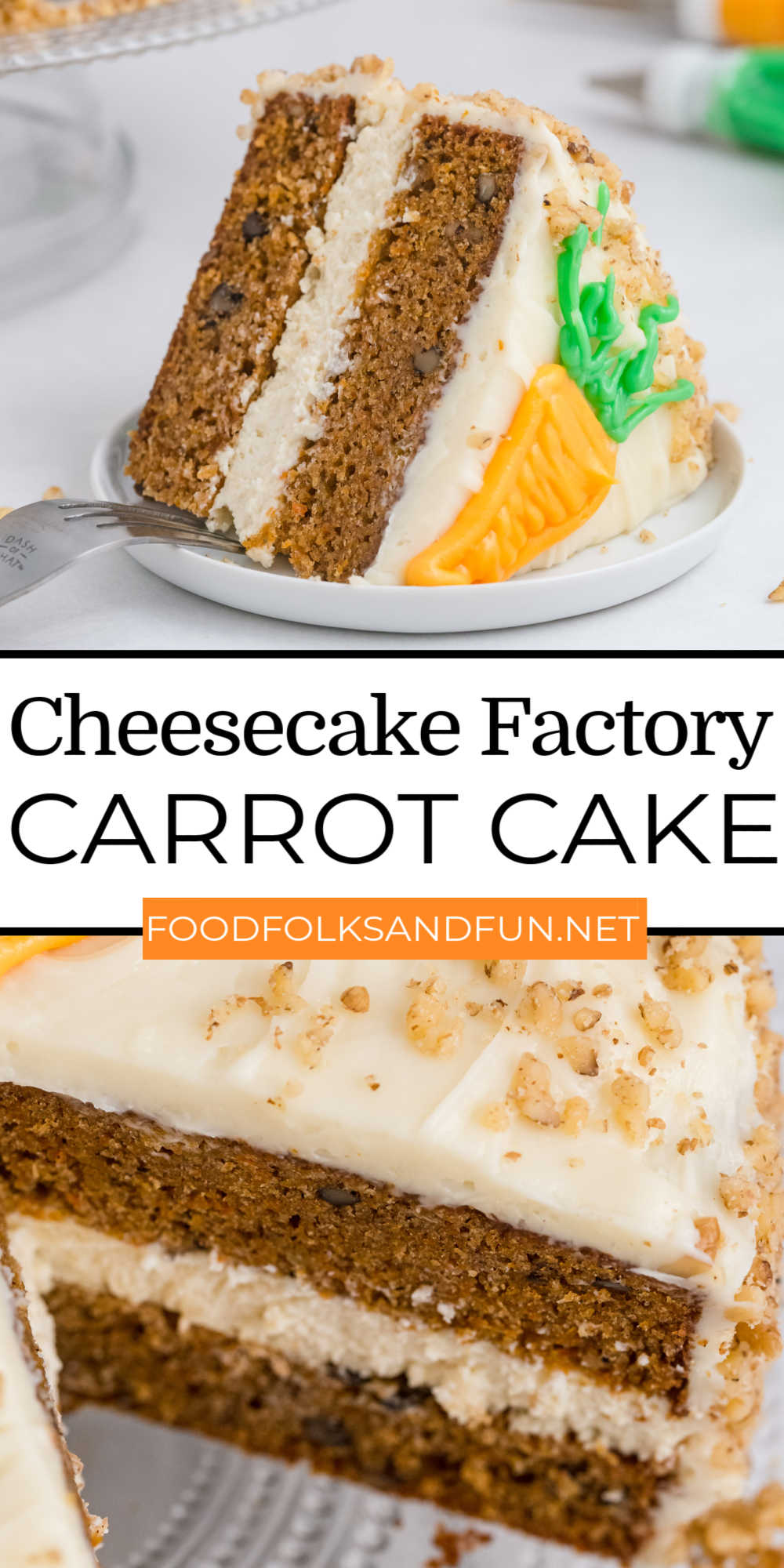 Cheesecake Factory Carrot Cake Cheesecake Copycat has two layers of delicious carrot cake, a layer of cheesecake, and is smothered in the best cream cheese frosting to make one glorious cake! via @foodfolksandfun