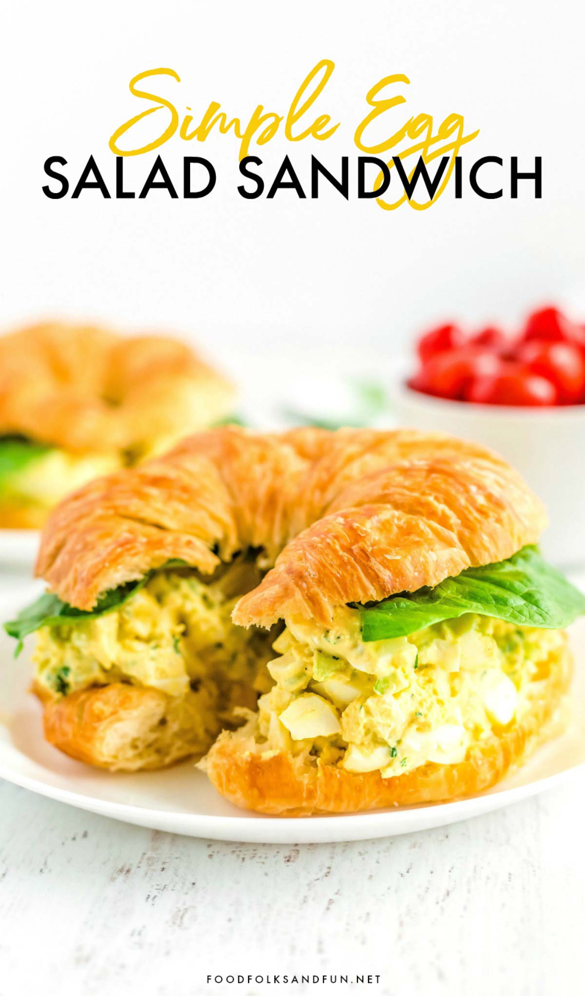 Egg Salad on a Crescent roll on a plate