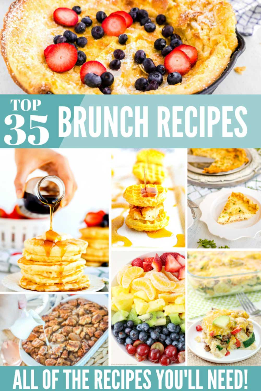 A collage of recipes for brunch with text overlay for Pinterest