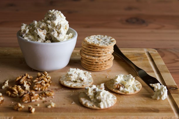 Blue Cheese Spread with a stack of crackers