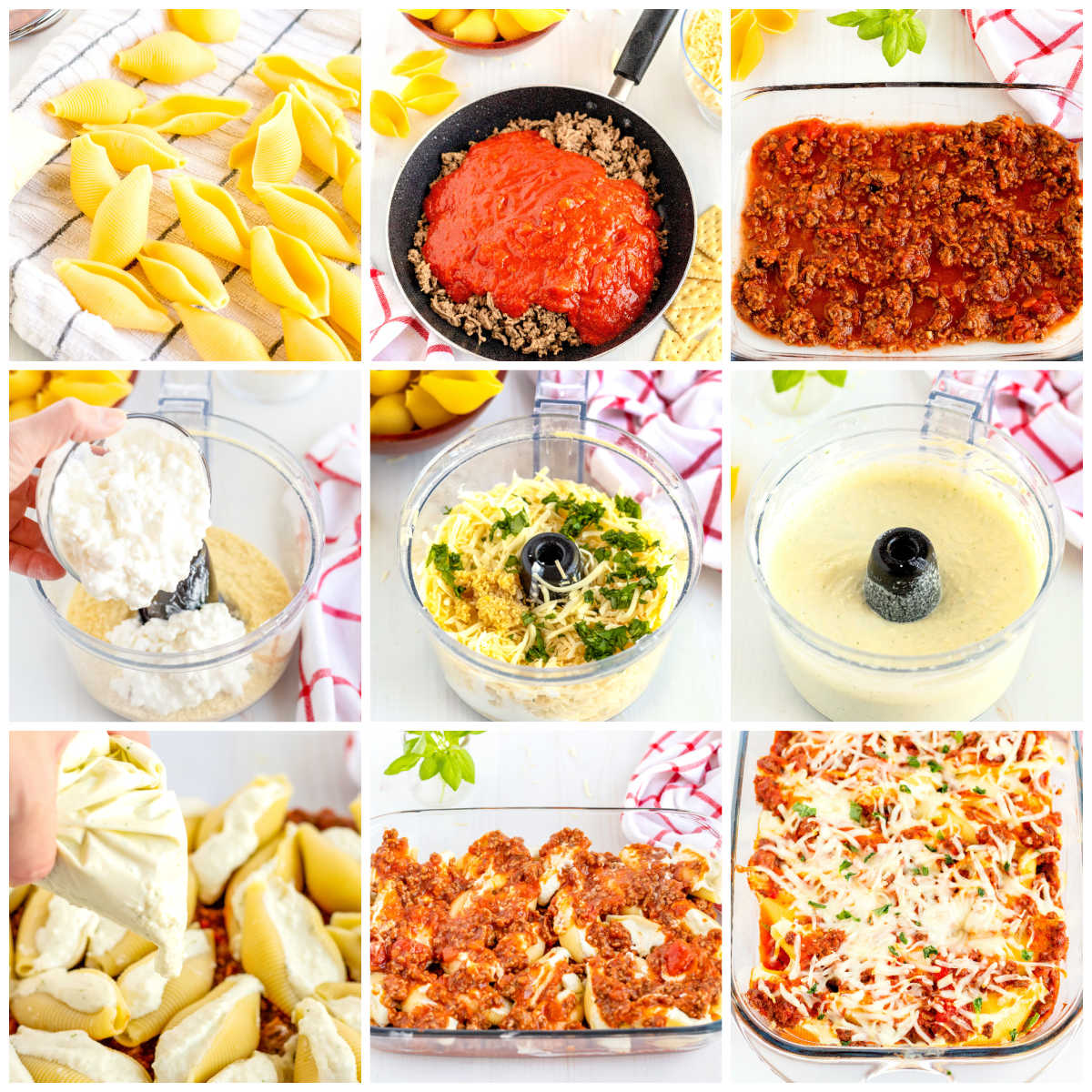 A picture collage of how to amen Stuffed Shells Without Ricotta.