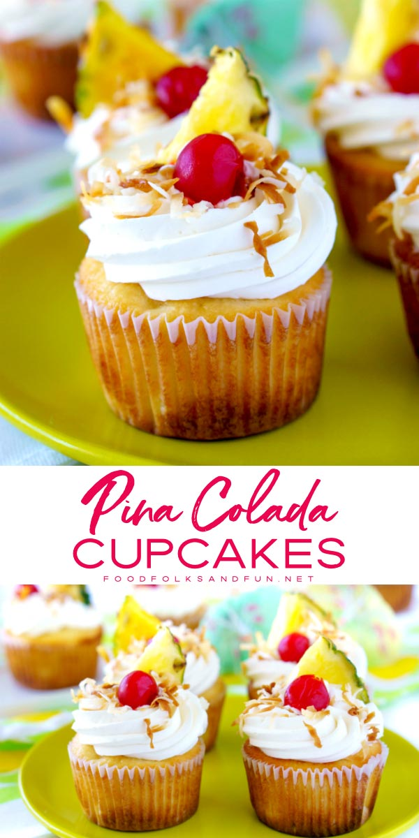 These Pina Colada Cupcakes have a coconut-pineapple cupcake base, rich coconut cream cheese frosting, and they're garnished with toasted coconut, pineapple triangles, maraschino cherries, and paper umbrellas. Basically, it's summer in cupcakeform. via @foodfolksandfun