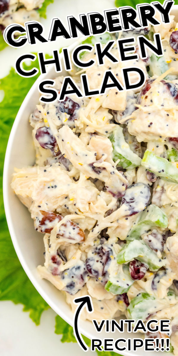 This Cranberry Chicken Salad with Pecans recipe is so creamy and filled with cranberries, celery, toasted pecans, orange zest, and poppy seeds. Serve it on croissants, rolls, as a wrap, or on a bed of lettuce. via @foodfolksandfun