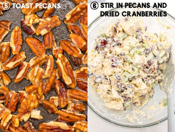Toasted pecans and cranberries added to the chicken mixture.