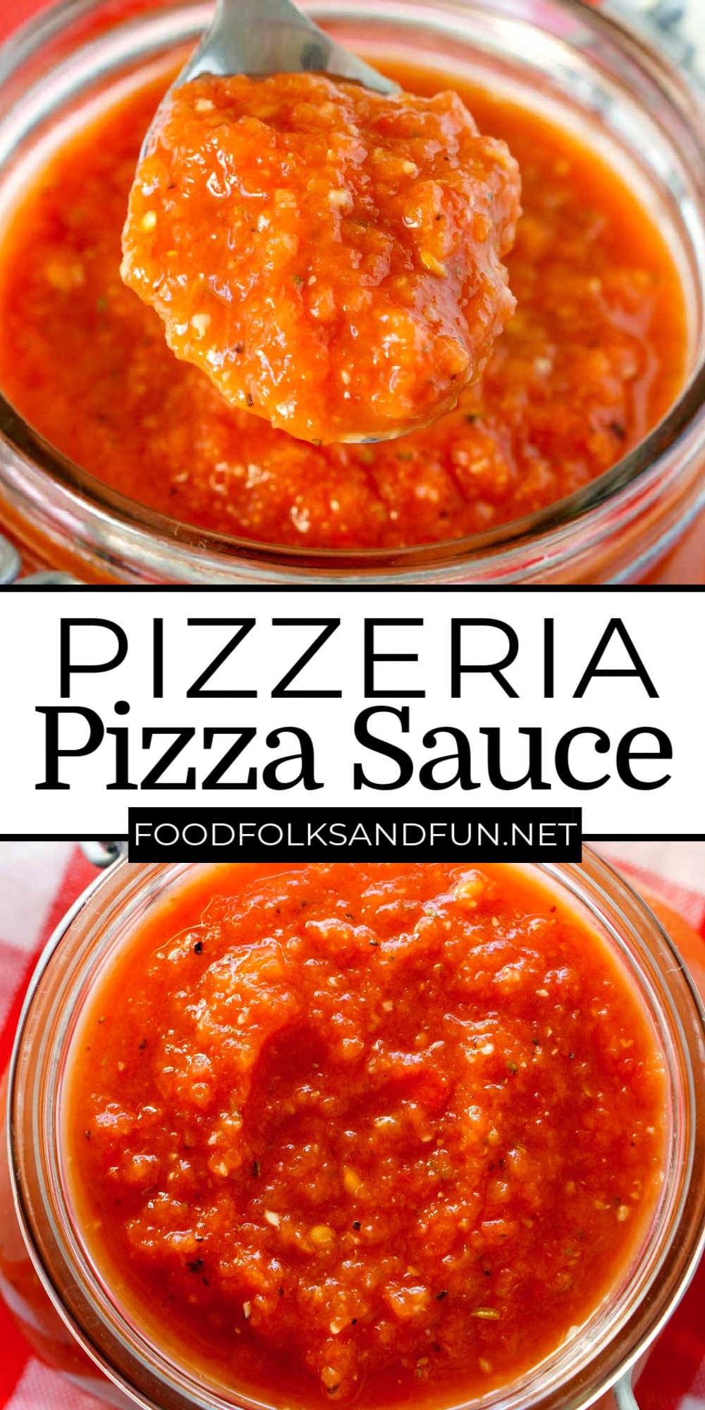 This Copycat Pizzeria Pizza Sauce Recipe tastes as if it came from your favorite pizzeria. It's SO easy to make, all you need is 5 minutes and a blender! via @foodfolksandfun