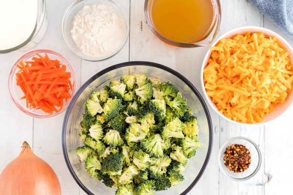All of the ingredients needed to make Panera Broccoli Cheese Soup.