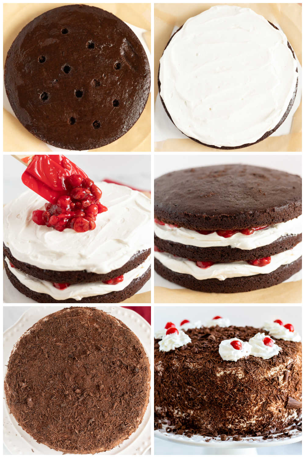 A picture collage of the recipe steps to ace this black forest cherry cake recipe.