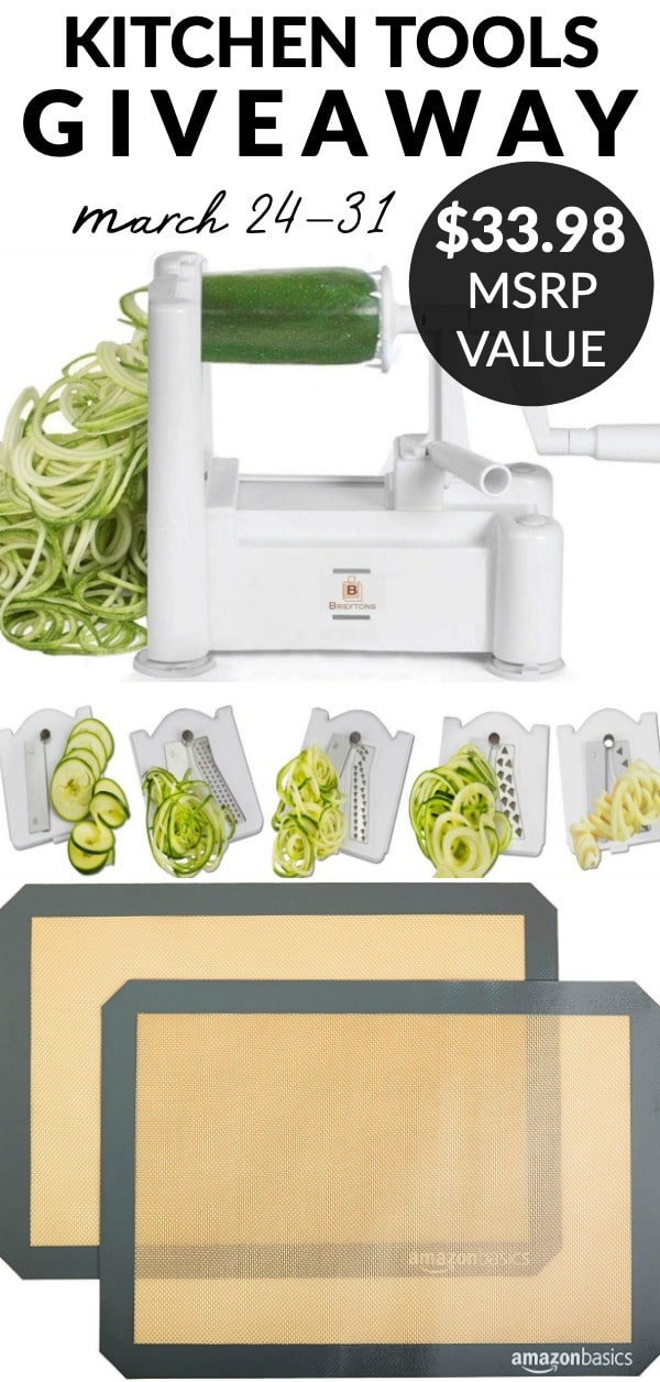 Come enter my Kitchen Tools Giveaway! The kitchen tools I'm giving away are a set of silicone baking mats and a vegetable spiralizer! They have a combined MSRP of $33.98.  via @foodfolksandfun