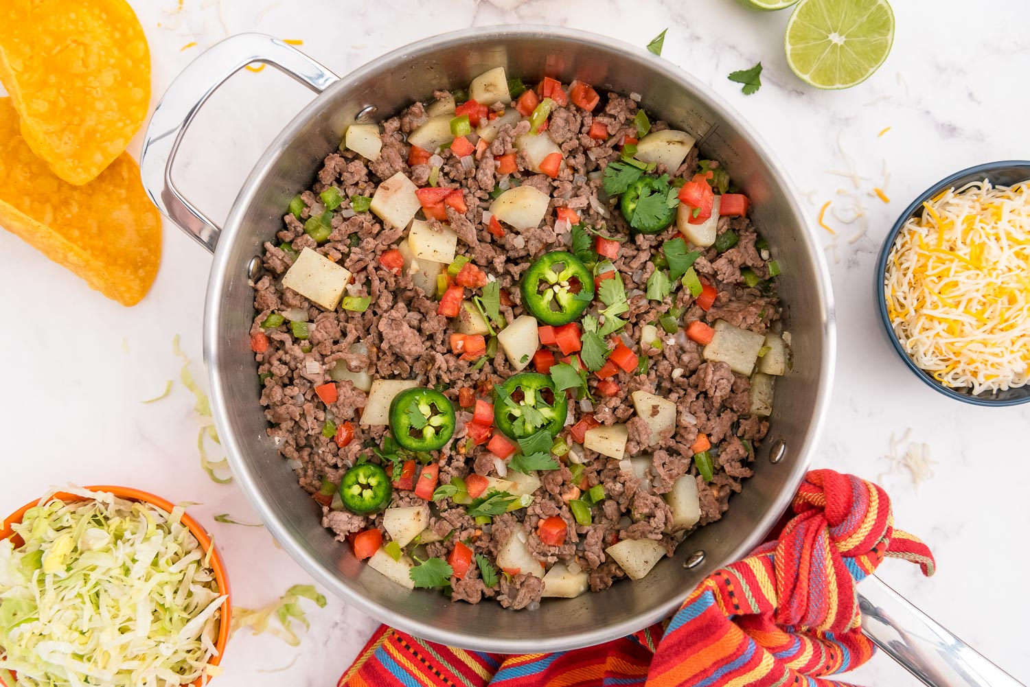 An overhead picture of the finished Picadillo meat mixture.
