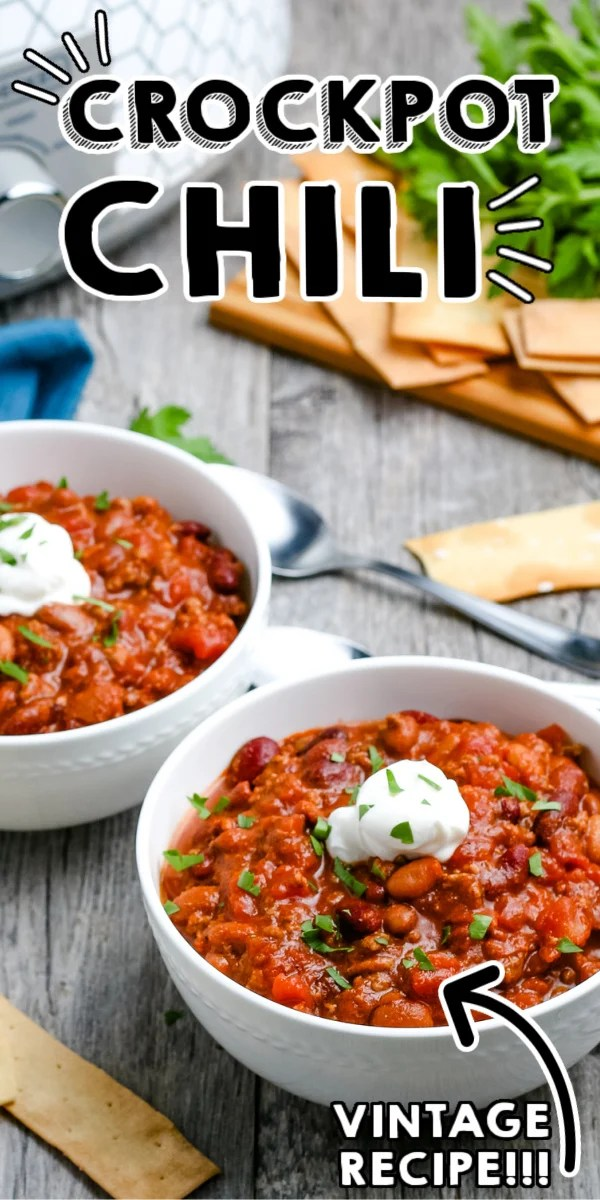 Easy Crockpot Chili is a classic go-to recipe for busy weeknights during the fall and winter. Repurpose leftovers on baked potatoes, nachos, and more! via @foodfolksandfun