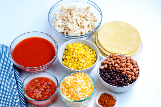 All of the ingredients needed to make this Chicken Enchilada Casserole recipe.