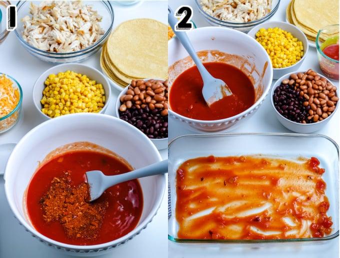 Enchilada sauce mixture spread into the bottom of a casserole dish.