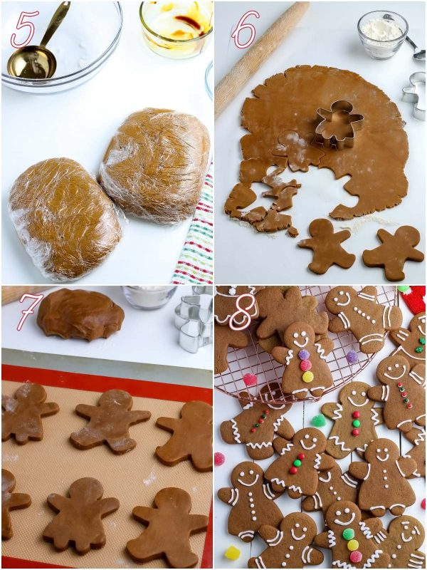 A picture collage of rolling out and cutting the gingerbread cookie dough.