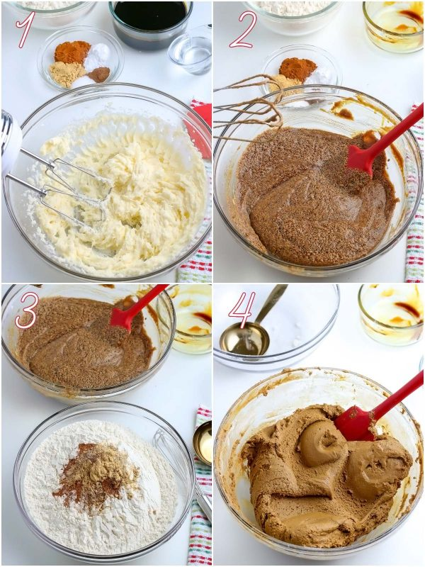 A picture collage of mixing the gingerbread dough.