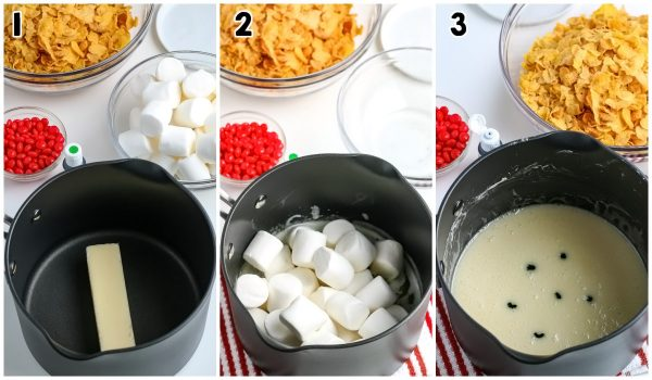 The marshmallow and butter melted in the saucepan.