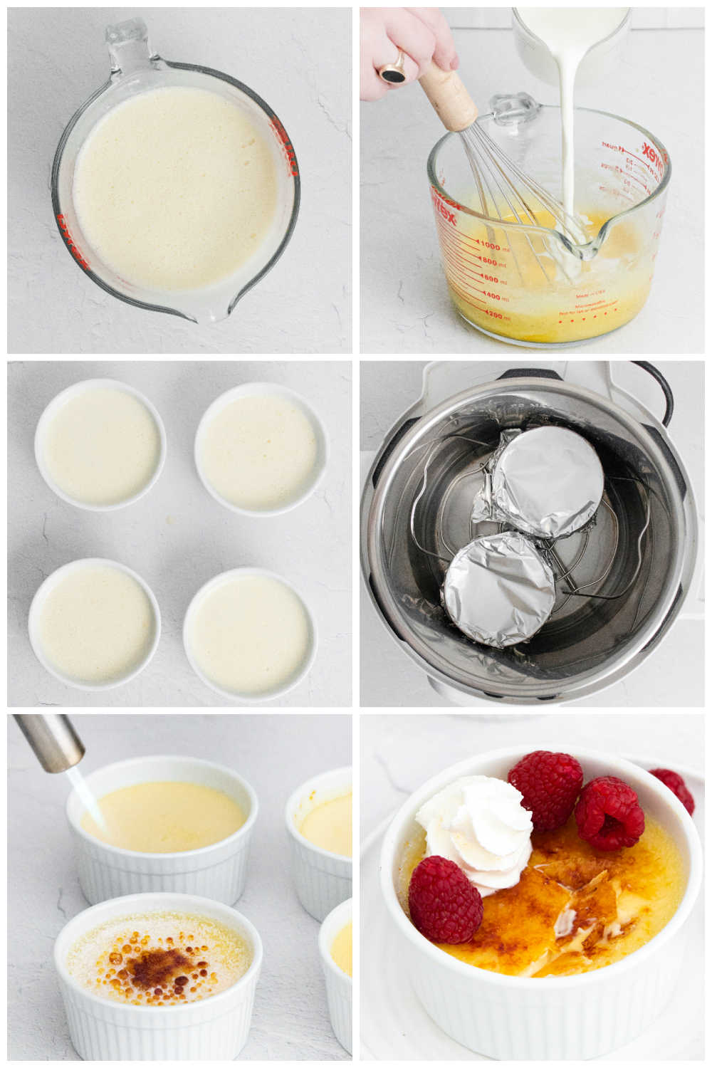 A picture collage of how to make this Instant Pot Creme Brulee recipe.