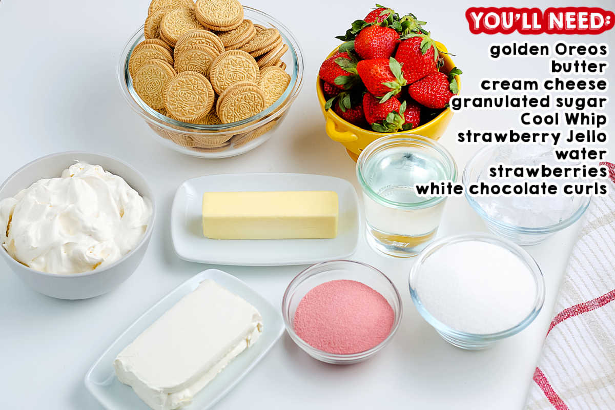 All of the ingredients needed to make Strawberry Lasagna.