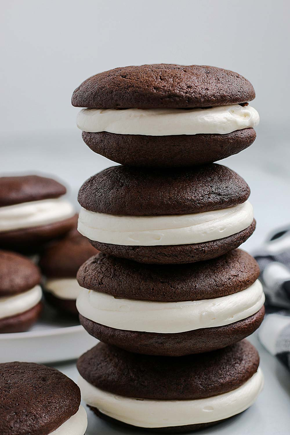 Four Whoopie Pies stacked on top of each other.