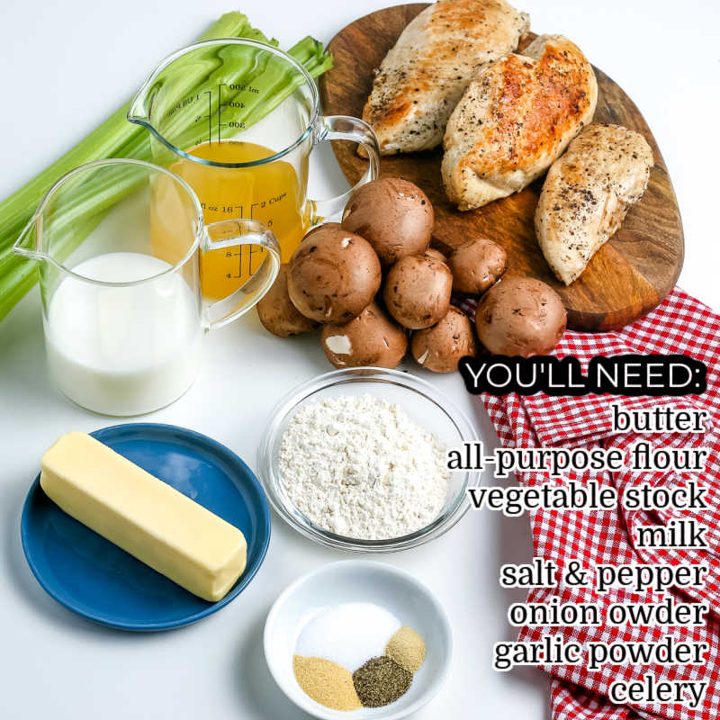 All of the ingredients needed to make Cream of Celery Soup.