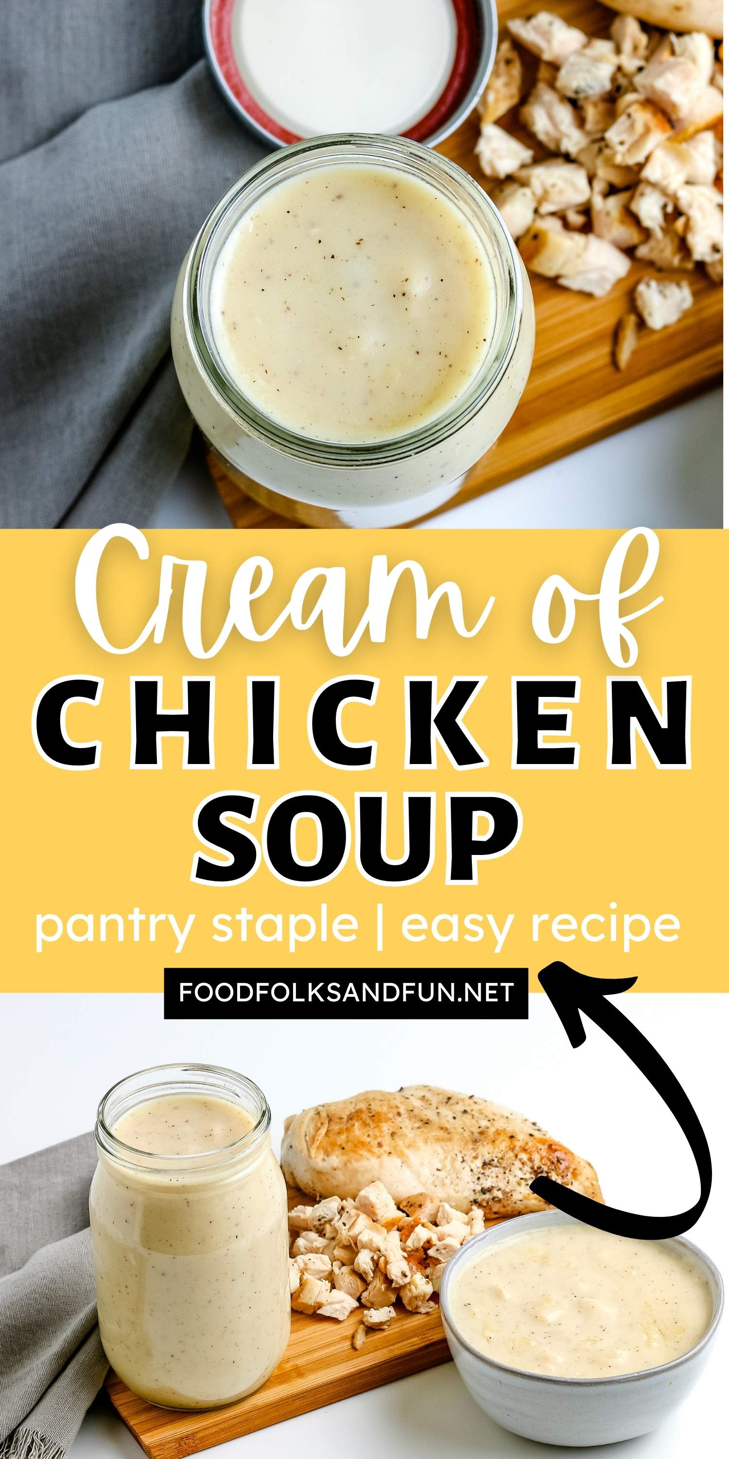 This Homemade Cream of Chicken Soup recipe is a delicious substitute for the pantry staple, condensed soup. It's great for adding to casseroles and soups. via @foodfolksandfun