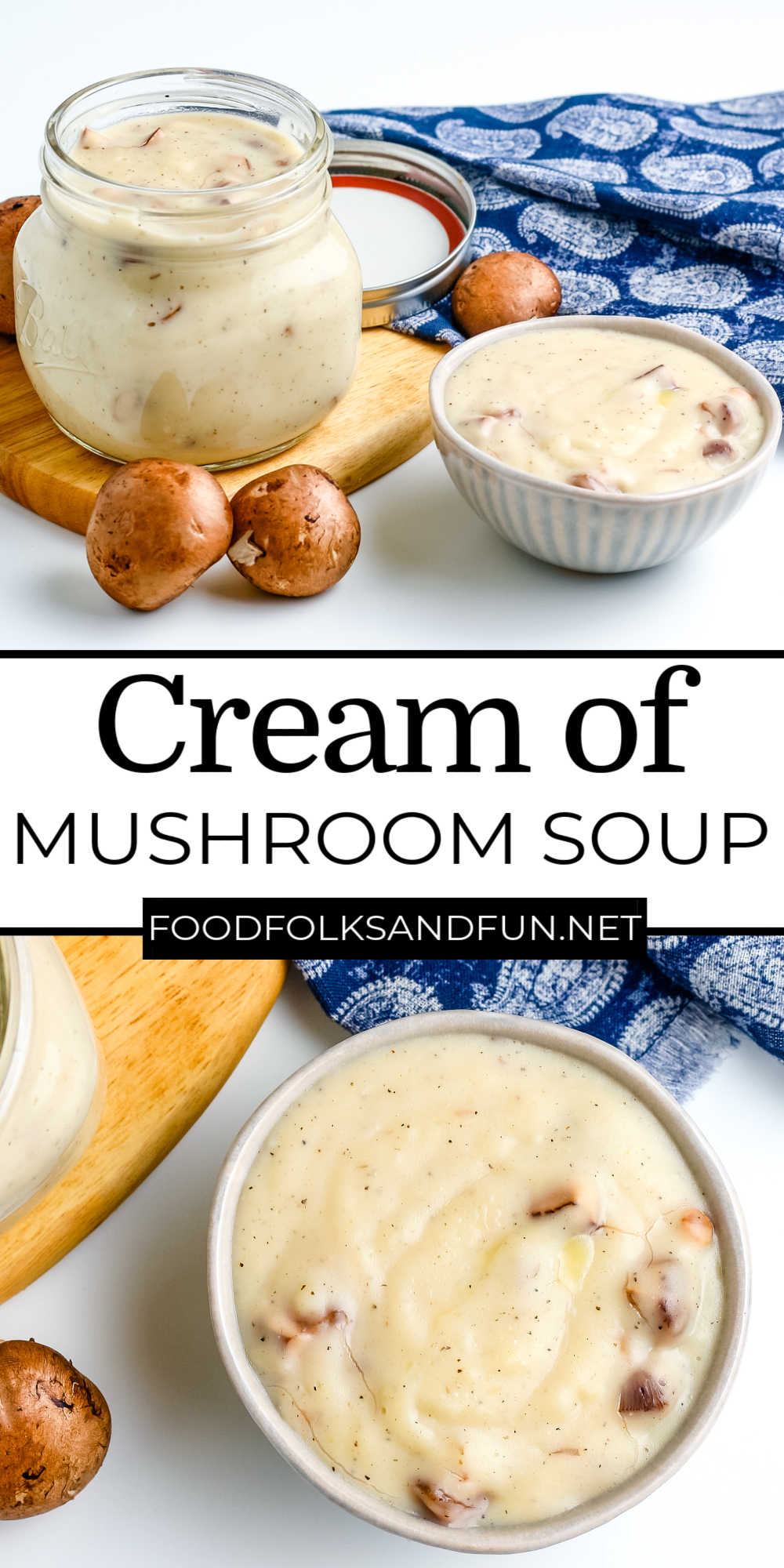 This Cream of Mushroom Soup substitute recipe is a delicious base for casseroles. After you taste this soup, you'll never buy the condensed canned soup ever again! via @foodfolksandfun
