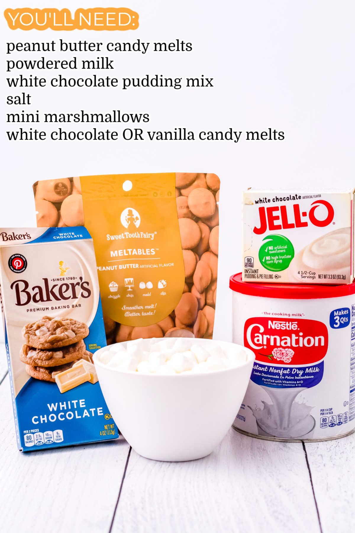 All of the ingredients needed to make Peanut Butter White Hot Chocolate Bombs.