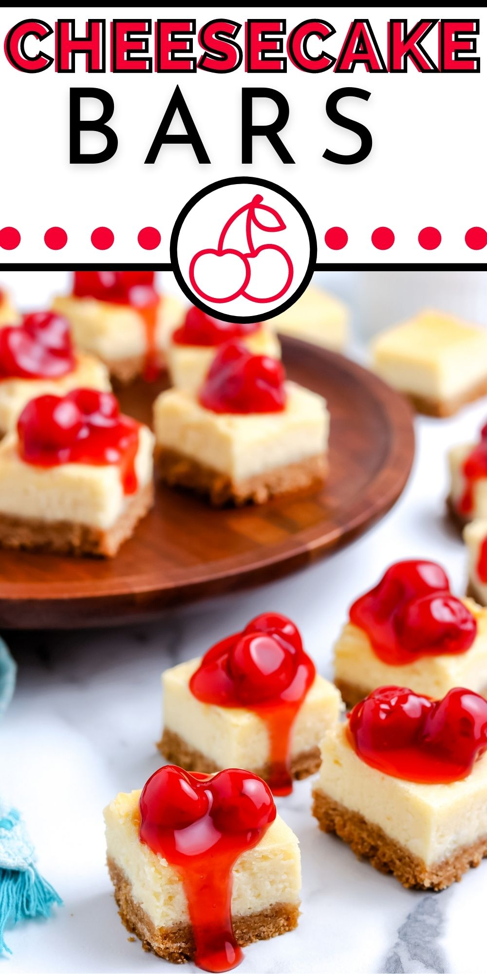 These Cheesecake Bars are so much easier to make than classic cheesecake. They're creamy and dense and topped with cherry pie filling.  via @foodfolksandfun
