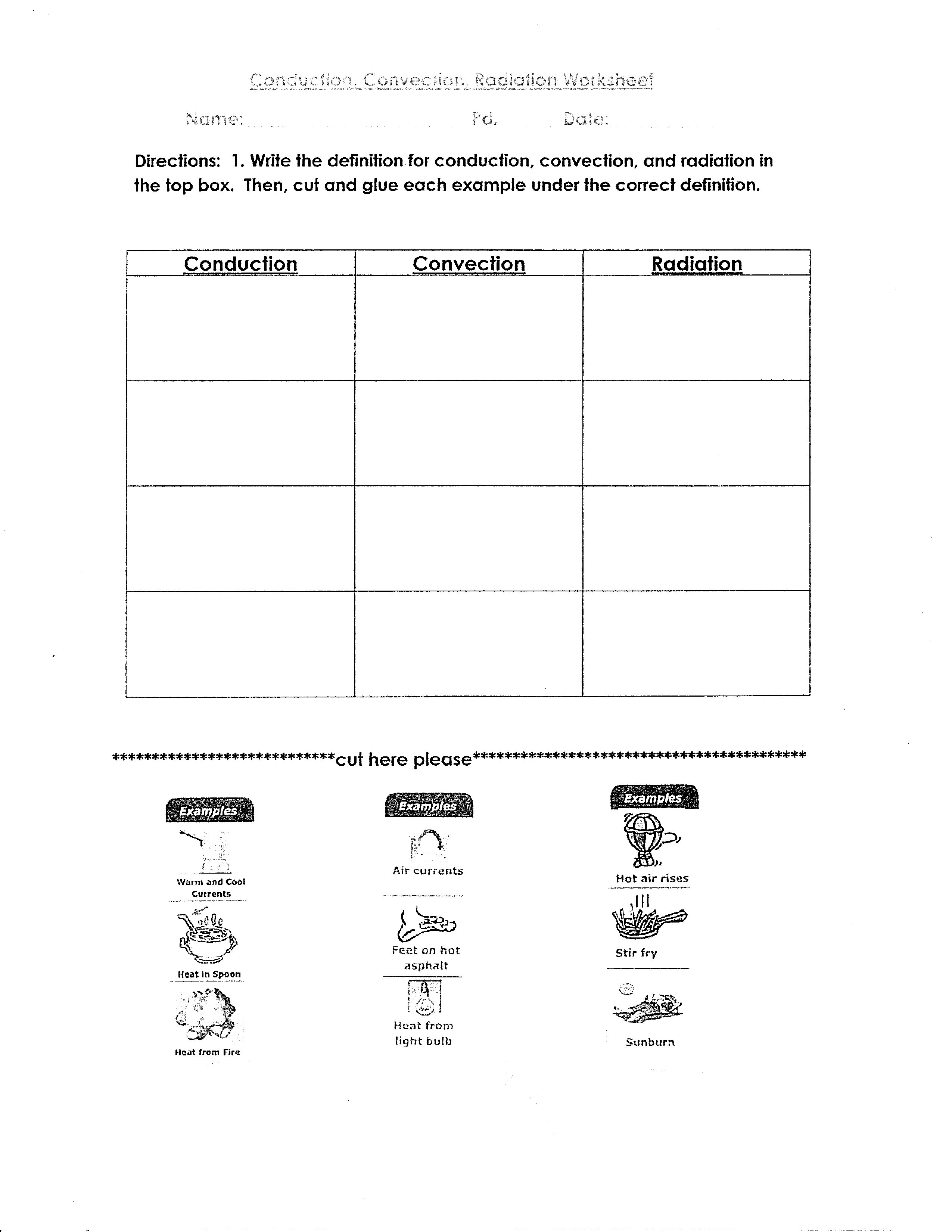 Worksheets Convection Conduction Radiation Worksheet conduction convection radiation worksheet free worksheets library ssignments mr em n