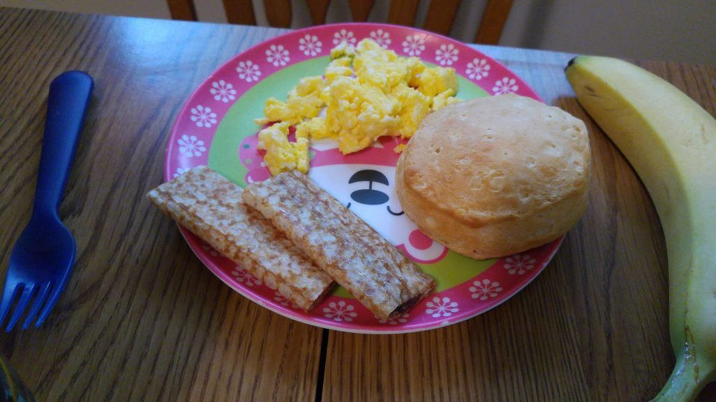scrambled eggs and biscuits
