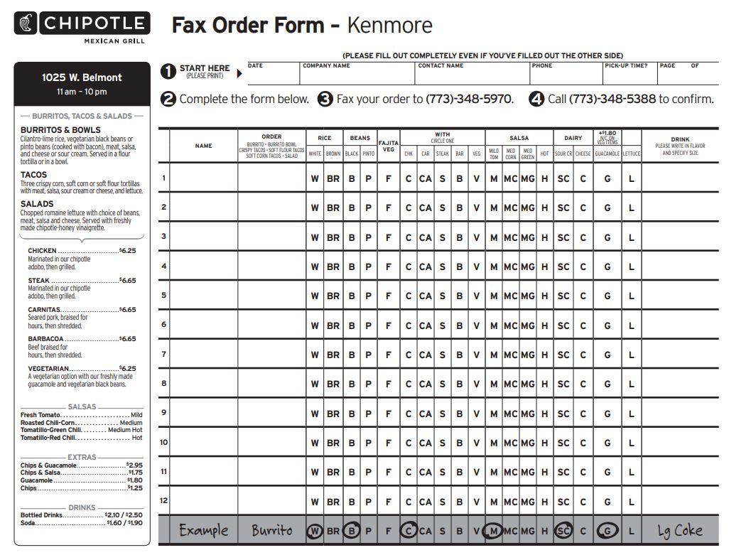 Order Menu Form Fax Chipotle