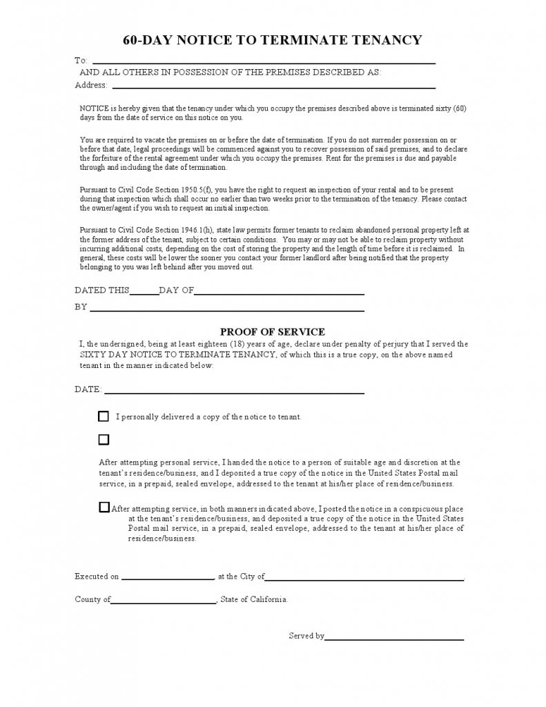 California Notice Day 60 Vacate