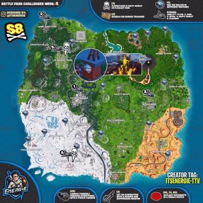 Fortnite Cheat Sheet Map For Season 8, Week 4 Challenges ...