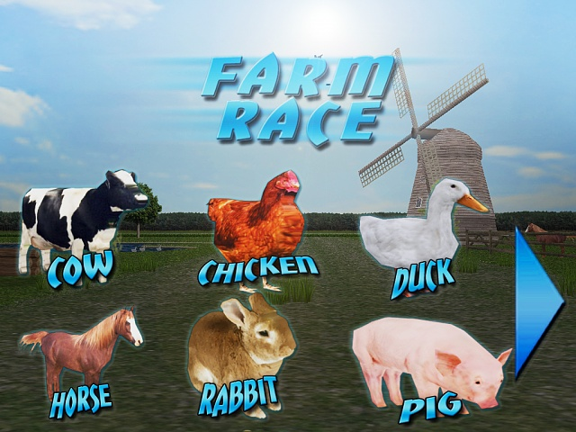 """Farm Race"" the one and only racing game with farm animals ..."