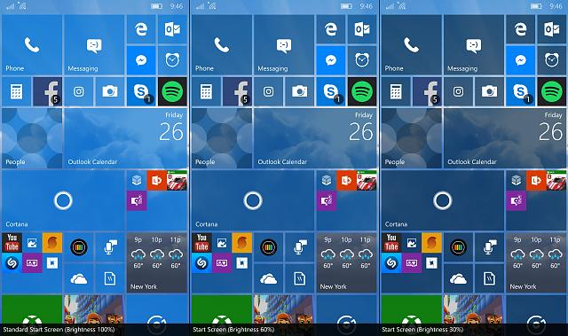Idea Start Screen Tile Brightness Slider Windows