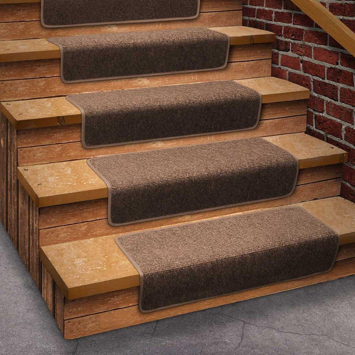 Carpet Treads For Wood Stairs Ideas On Foter | Gray Carpet Stair Treads | Black | Set | Wood | Grey Patterned | Fitting Loop Pile Carpet