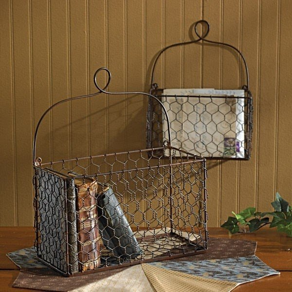 Decorative Wire Basket   Foter Chicken wire wall baskets traditional home decor other metro
