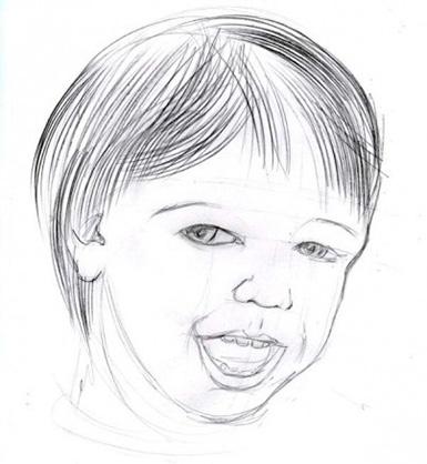 a gyermek arcának mély részlete