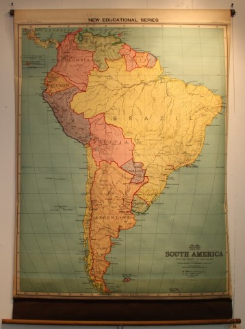 FOUND in ITHACA      Vintage Johnson Nystrom Map of South America  ca     Vintage Johnson Nystrom Map of South America  ca  1920s