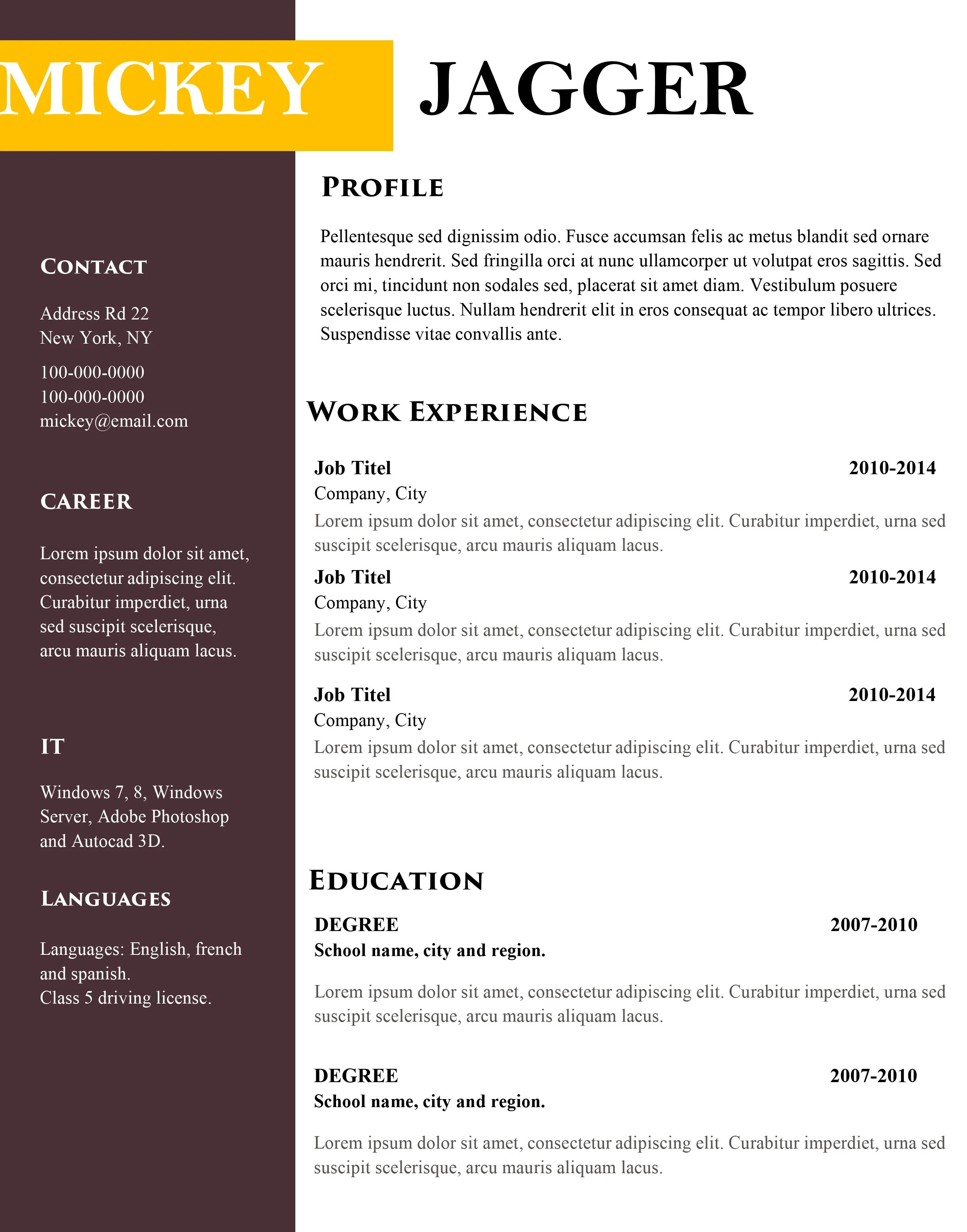 Modern Cv Template In Microsoft Word Download For Free