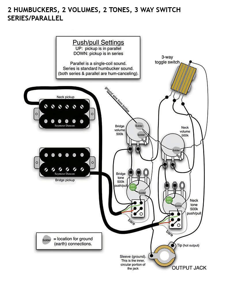 2 Humbucker Volume 1 T One Wiring Coil Tap