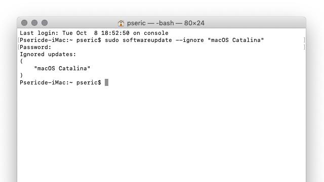 隐藏 macOS Catalina 更新通知