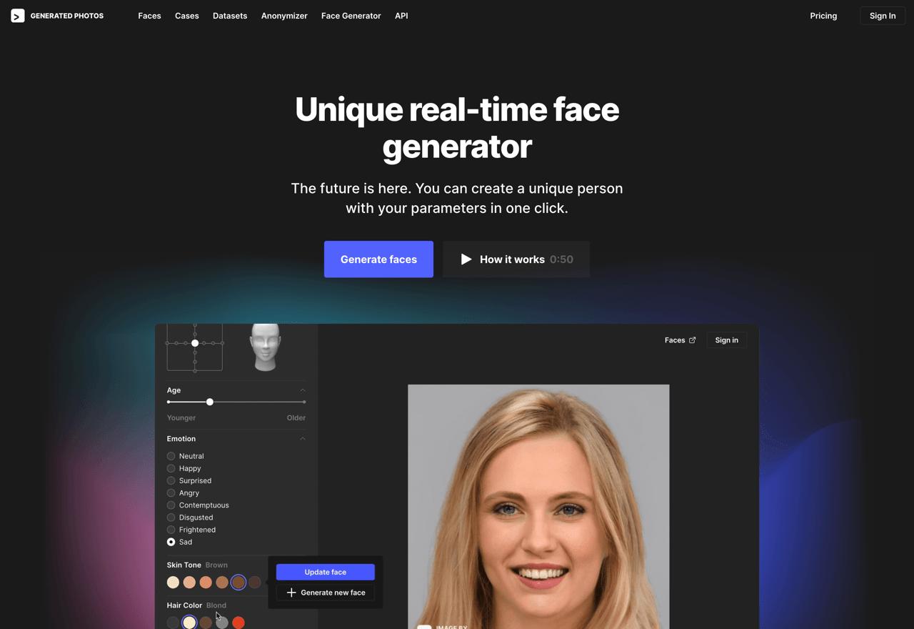 Face Generator – 免费的自定义虚拟人脸生成工具