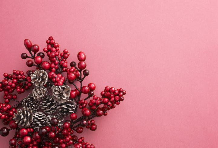 Image Of Red Pine Cone Berry Christmas Wreath Freebie
